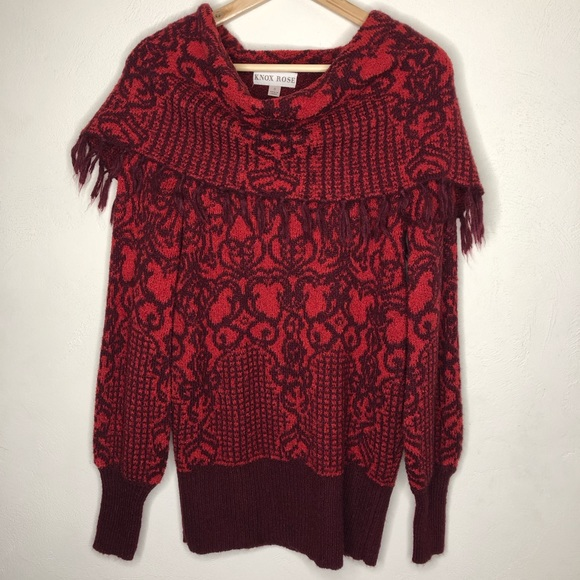 Knox Rose Sweaters - Knox Rose Cowl Neck Fringe Red Sweater